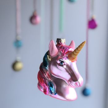 Glass Unicorn Christmas Tree Bauble