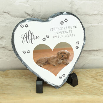 Personalised Pet Memorial Photo Heart Slate
