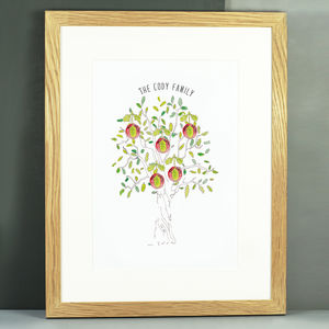 Personalised Mighty Oak Family Tree Print - dates & special occasions