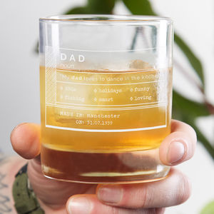 Personalised Dad Whiskey Glass - gifts for fathers