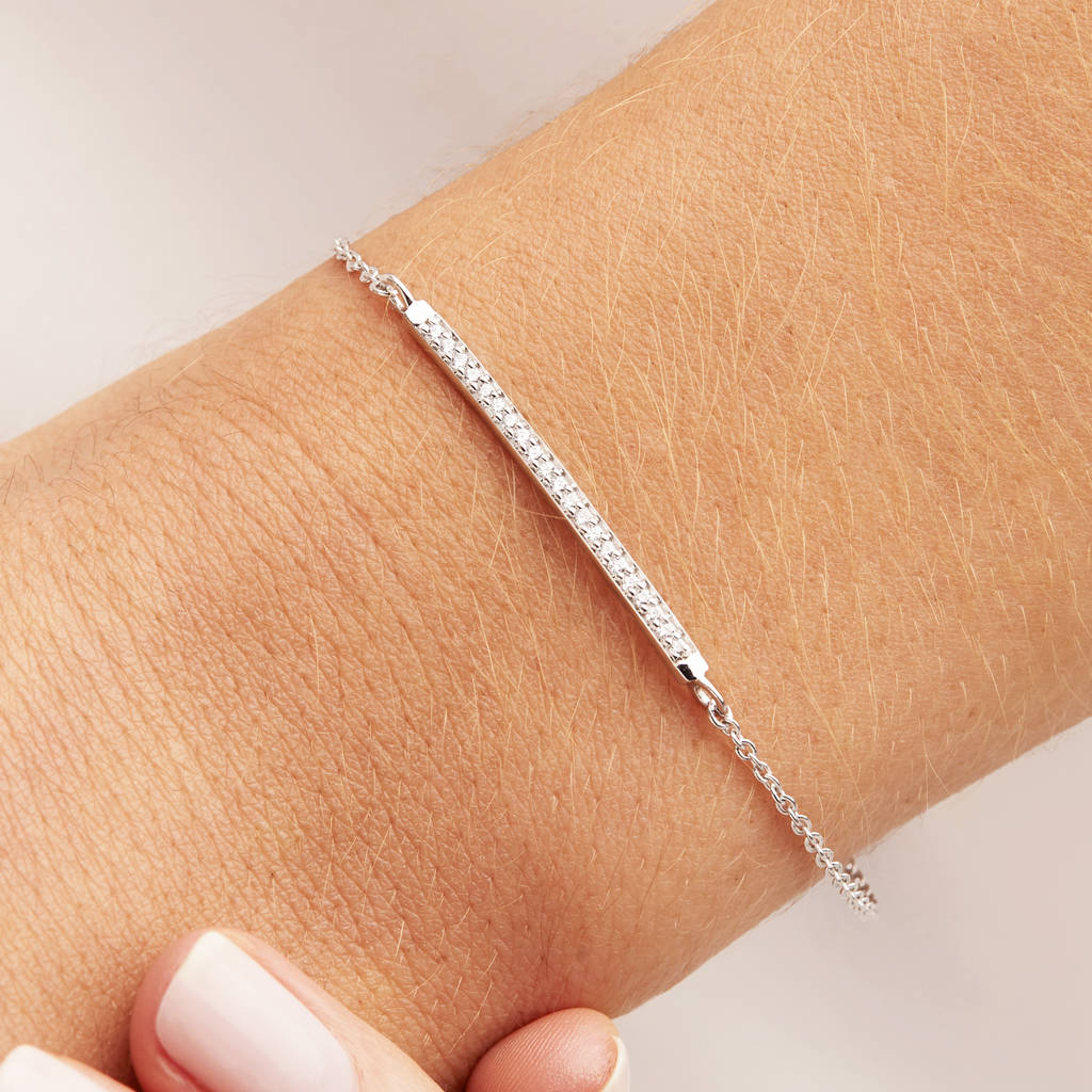 silver or gold diamond style bar bracelet by lily roo