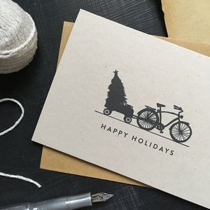 'Happy Holidays' Bicycle Christmas Card