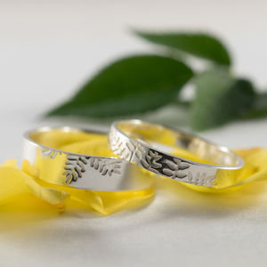 Botanical Wedding Bands In 9ct White Gold