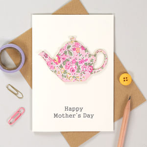 Personalised Liberty Teapot Mother's Day Card