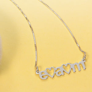 Personalised Three Initial Heart Necklace
