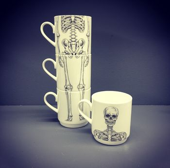 Bone China Stacking Skeleton Mug Set