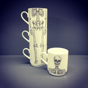 Bone China Stacking Skeleton Mug Set - mugs