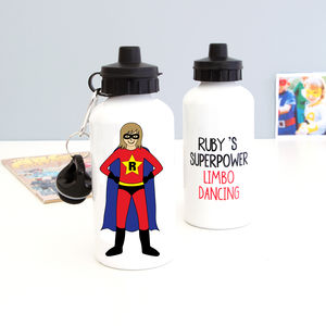 Personalised Superhero Water Bottle For Girls
