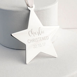 Personalised Christening Star Decoration