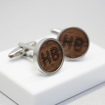 Geometric Initial Walnut Wood Cufflinks