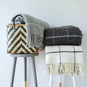 Lambswool Open Check Blanket - blankets & throws