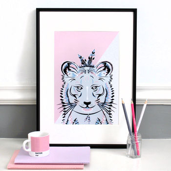 Lilac And Pink Tiger 'On Safari' Illustration