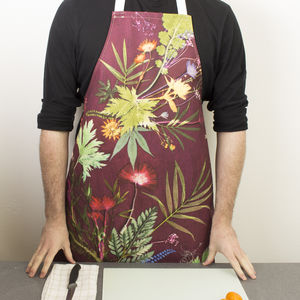 Wine Colour Botanical Kitchen Apron Accessory Gift - cooking & food preparation