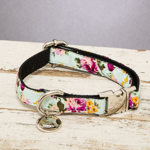 The Barnes Blue Floral Dog Collar