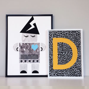 Robot Children's Print And Personalised Initial - gifts for children