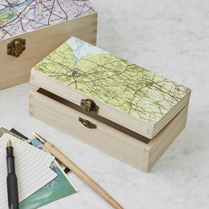 Personalised Map Location Rectangular Wooden Box - keepsake boxes