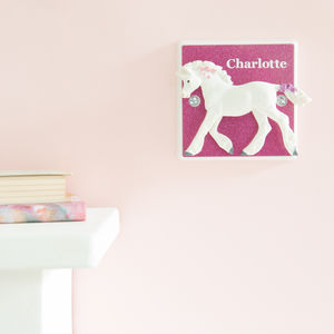 Personalised Glittery Pink Unicorn Light Switch - children's lighting