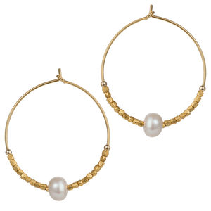 30mm Fair Trade Hoops With Freshwater Pearls