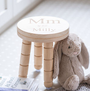 Personalised Childs Letter And Name Wooden Stool