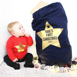 Personalised Metallic Star First Christmas Sack - baby's first christmas