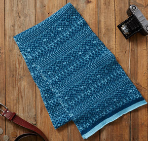 Mens Fair Isle Stripe Trim Scarf - men's accessories