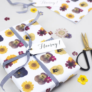 Luxury Pressed Flower Print Wrapping Paper Set - mother's day cards & wrap