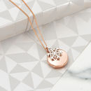 Personalised Rose Gold Locket With Snowflake Charm