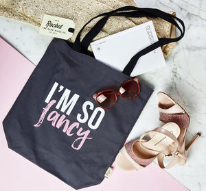 Tote Bag With Slogan Print 'I'm So Fancy'