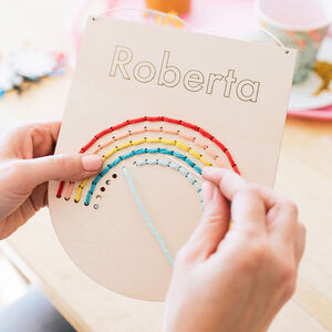 Personalised Large Natural Rainbow Embroidery Kit