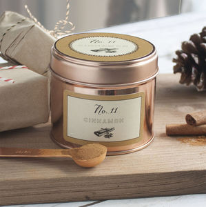 Christmas Scented Cinnamon Candle In A Rose Gold Tin - dining room