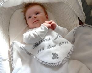 Personalised Embroidered Baby Blanket - sleeping