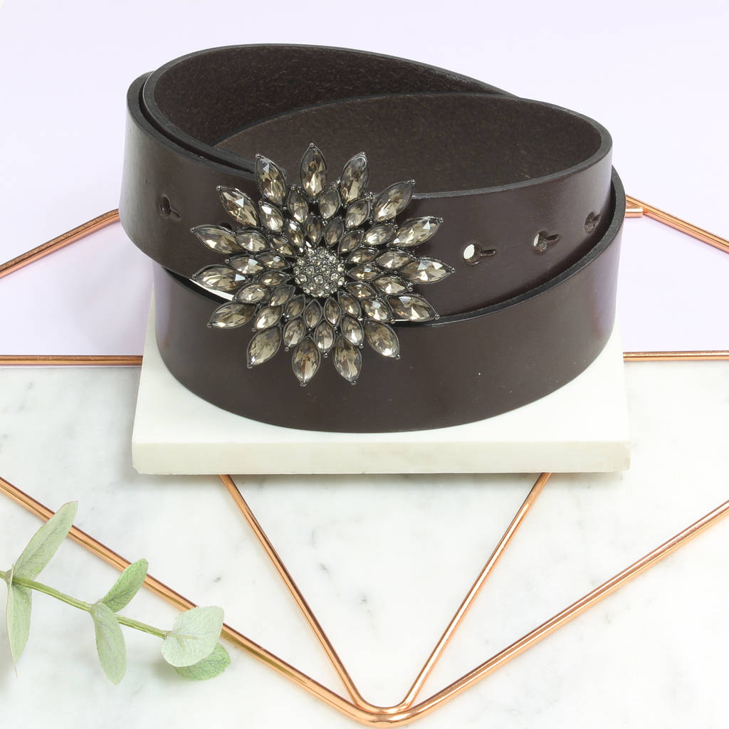 75cc55902e9e brown leather personalised ladies floral gem belt by the british ...