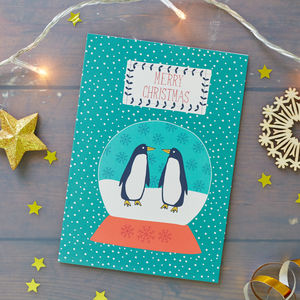 Penguins Snow Globe Christmas Card Pack - cards & wrap