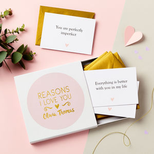 Personalised Foiled Reasons I Love You Notes - wedding, engagement & anniversary cards