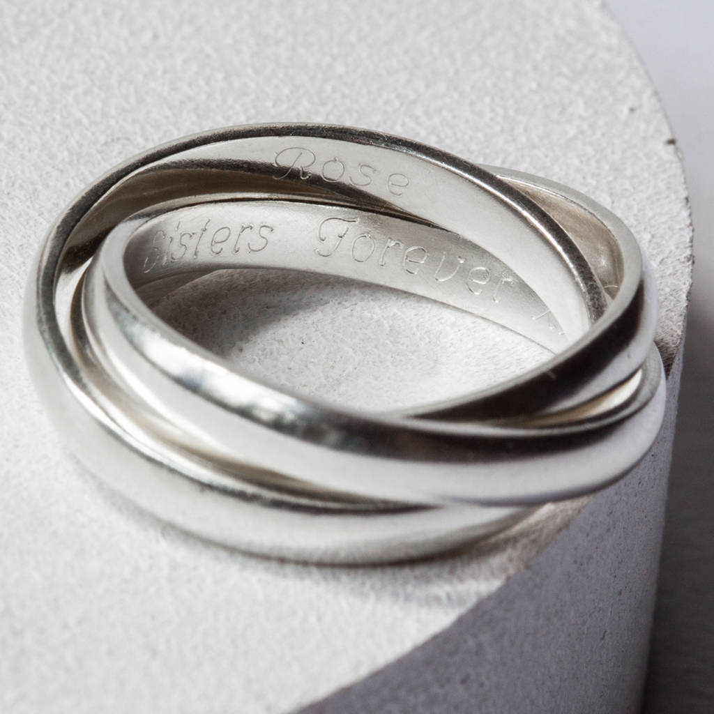sterling silver personalised triple linked ring by the jewellery