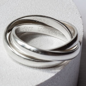 Sterling Silver Engraved Linked Ring - rings