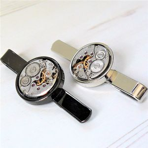 Round Watch Movement Tie Clip With Colour Option