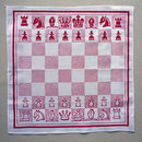 Chess Boardgame hankie red