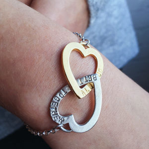 Personalised Entwined Hearts Bracelet - gifts for her