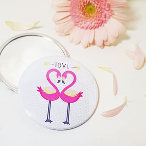 Love Flamingos Large Hand Held Pocket Mirror