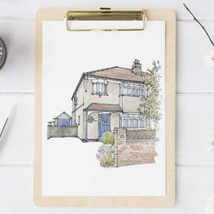 Watercolour House Portrait - gifts for him