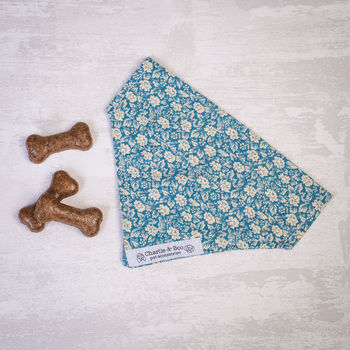 Dog Bandana For Girl Or Boy Dogs In Blue Floral