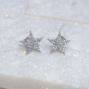 Sterling Silver Pave Sparkle Star Stud Earrings
