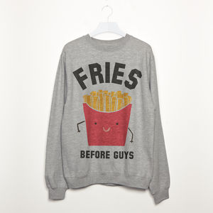 Fries Before Guys Women's Slogan Sweatshirt - sweatshirts & hoodies