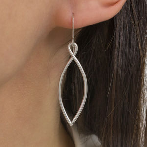 Handmade Sterling Silver Leaf Outline Earrings