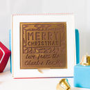 Personalised Merry Christmas Patterned Chocolate Card