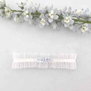 Tulle Wedding Garter With 'Something Blue' Flowers - lingerie & nightwear