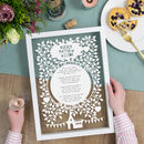Personalised Christening Reading Poem Papercut