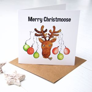 Merry Christmoose Christmas Card - cards