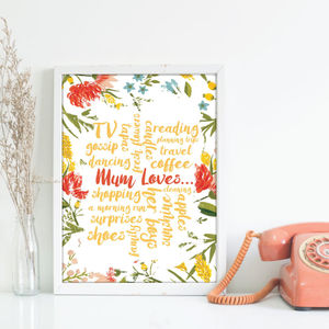Mum Loves Personalised Floral Print - people & portraits